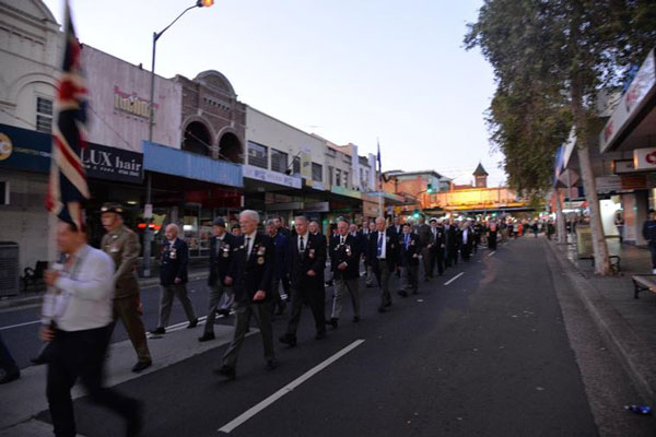 Marchers from the Burwood RSL Sub - Branch making their way down to Burwood Park from Club Burwood RSL